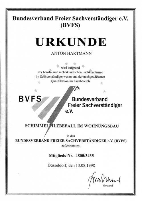 BVFS Schimmelpilzbefall im Wohnungsbau