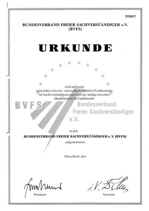 BVFS Urkunde Aufnahme
