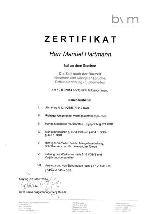 BVM Bauvertragsmanagement GmbH Hartmann Manuel Zertifikat