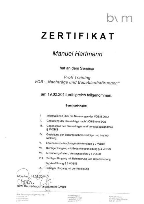 BVM Bauvertragsmanagement GmbH Zertifikat Profi Training