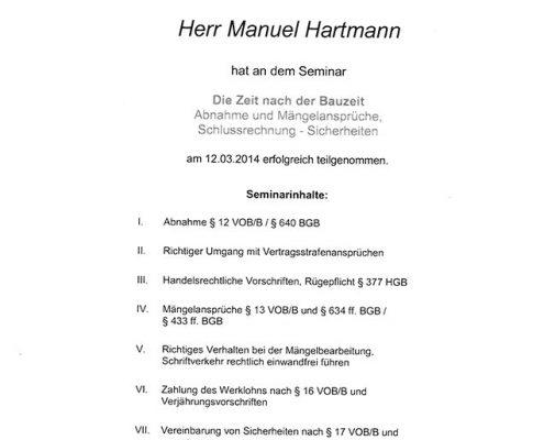 BVM Hartmann Manuel Zertifikat