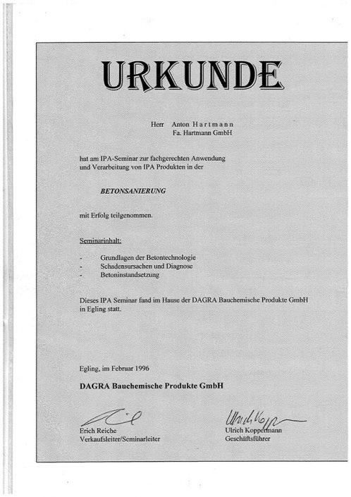 DAGRA GmbH IPA Produkte Betonsanierung