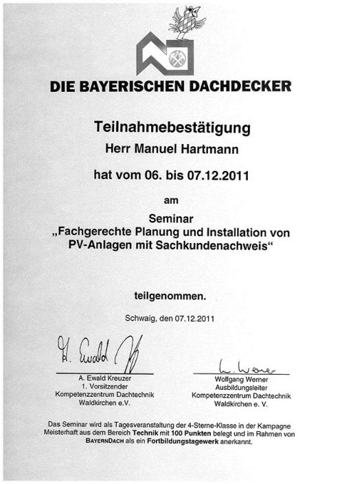 Die Bayerischen Dachdecker Manuel Hartmann Fachgerechte Planung PV-Anlage