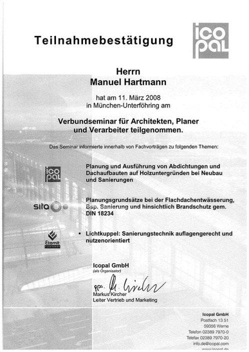 ICOPAL Manuel Hartmann Verbundseminar Architekten Planer Verarbeiter
