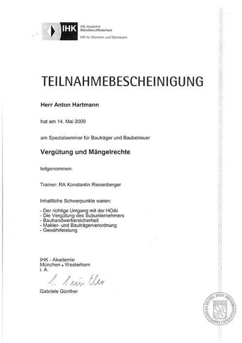 IHK Seminar Bauträger und Baubetreuer