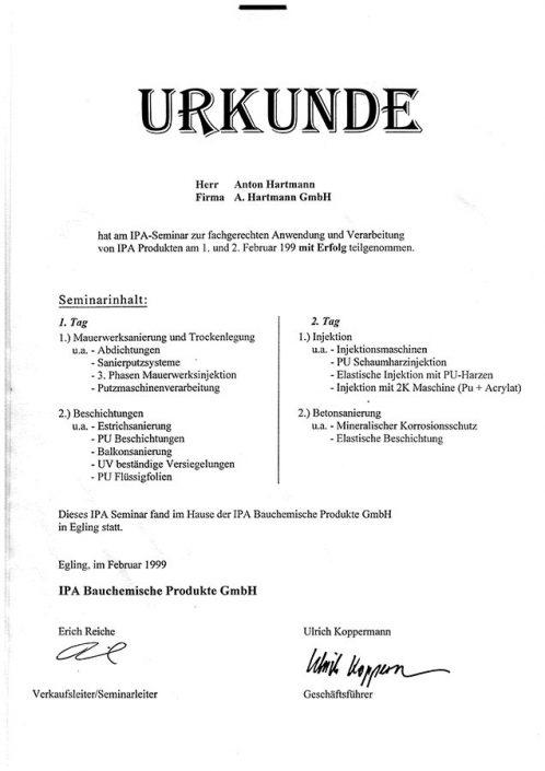 IPA Bauchemische Produkte Fachgerechte Anwendung