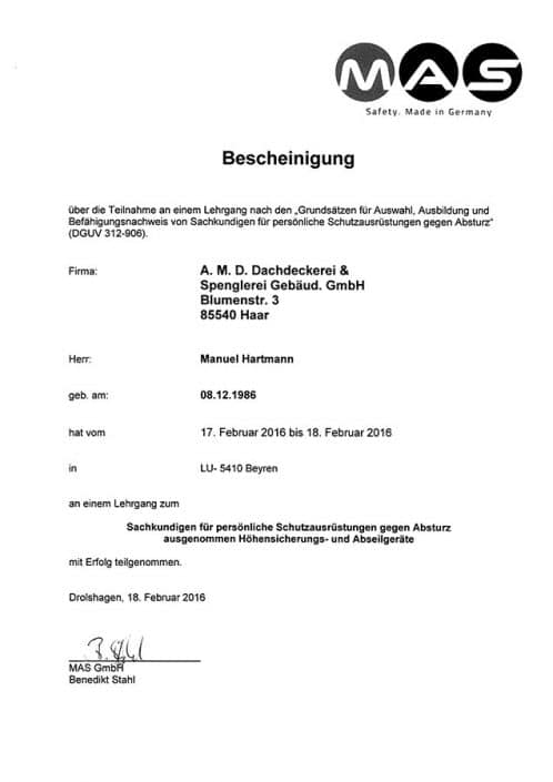 MAS GmbH Hartmann Manuel Lehrgang Sachkunde