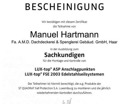 ST QUADRAT Hartmann Manuel Sachkundiger Anschlagpunkte