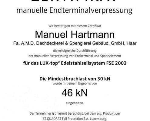 ST QUADRA Hartmann Manuel Zertifikat manuelle Endterminalverpressiung