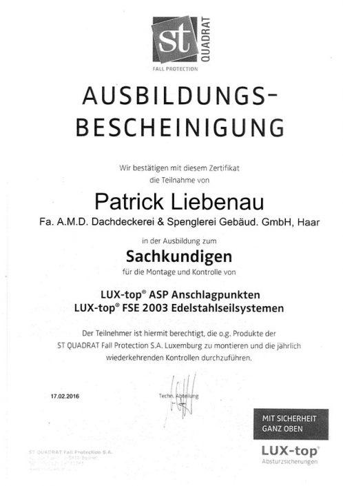 ST QUADRAT Liebenau Patrick Sachkundiger Anschlagpunkte-Edelstahlseilsysteme