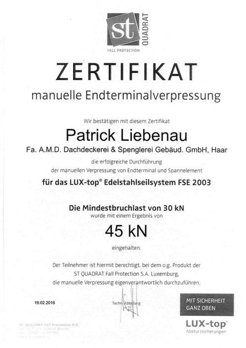 ST QUADRAT Liebenau Patrick Zertifikat manuelle Endterminalverpressung