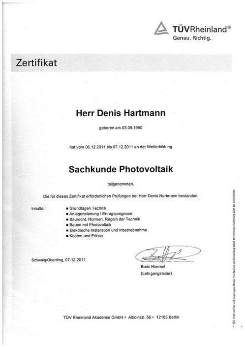 TÜV Rheinland Sachkunde Photovoltaik