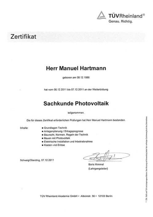 TÜV Rheinland Manuel Hartmann Sachkunde Photovoltaik