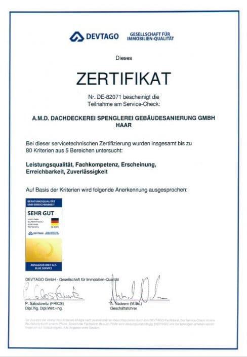 Zertifikat Sehr gut – Devtago
