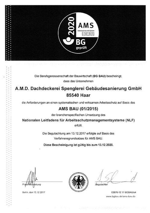 Arbeitsschutz BG Bau AMS Bau Bescheinigung für die A.M.D. Dachdeckerei & Spenglerei Geb. GmbH