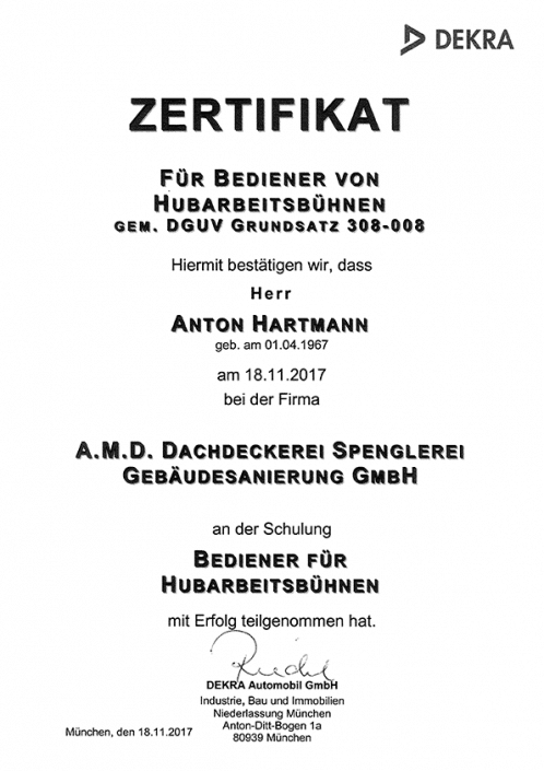 DEKRA Zertifikat Anton Hartmann Hubarbeitsbühne