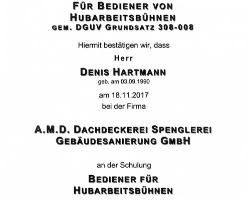 DEKRA Zertifikat Denis Hartmann Hubarbeitsbühne