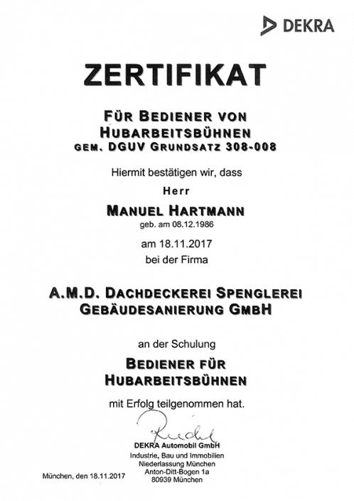 DEKRA Zertifikat Manuel Hartmann Hubarbeitsbühne