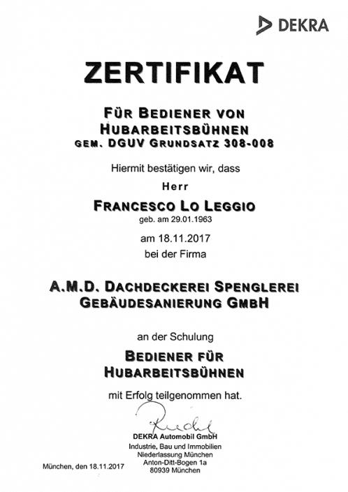 DEKRA Zertifikat Franscesco Lo Leggio Hubarbeitsbühne