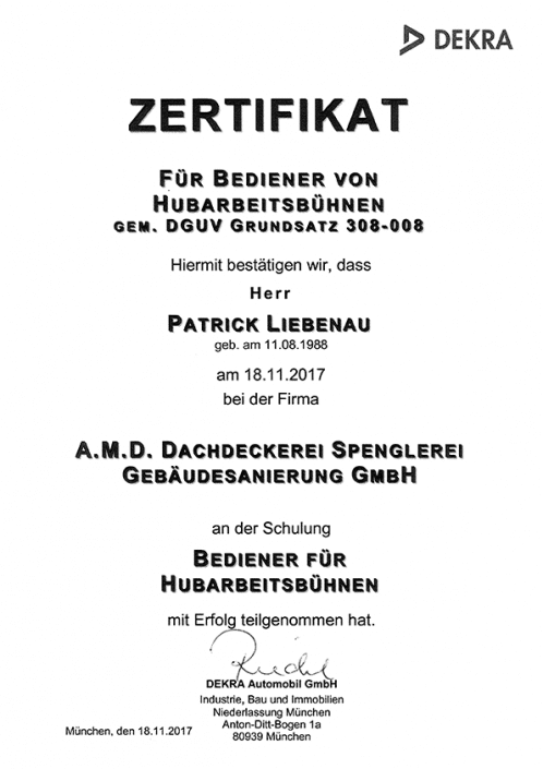 DEKRA Zertifikat Patrick Liebenau Hubarbeitsbühne
