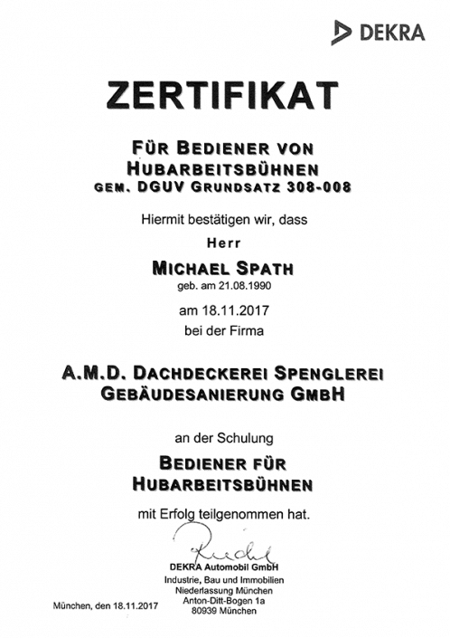 DEKRA Zertifikat Michael Spath Hubarbeitsbühne