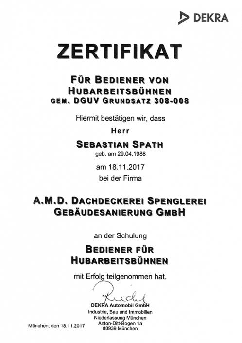 DEKRA Zertifikat Sebastian Spath Hubarbeitsbühne