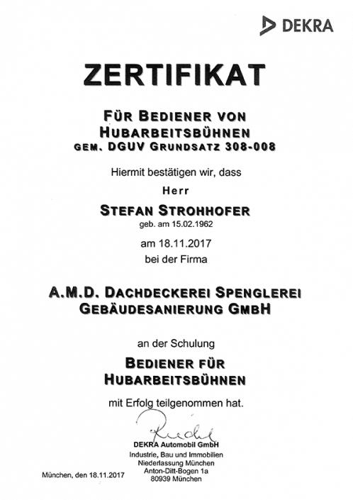 DEKRA Zertifikat Stefan Strohhofer Hubarbeitsbühne