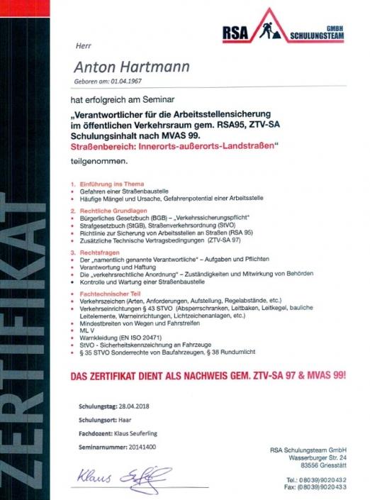 Zertifikat RSA Anton Hartmann