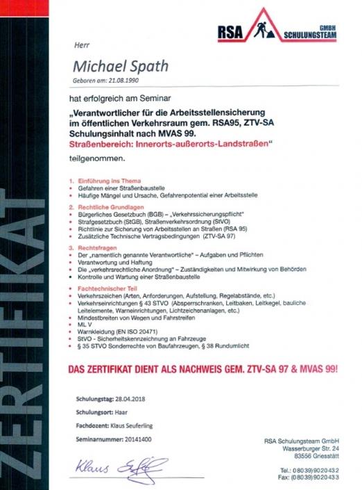 Zertifikat RSA Michael Spaht