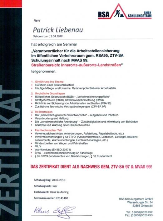Zertifikat RSA Patrick Liebenau