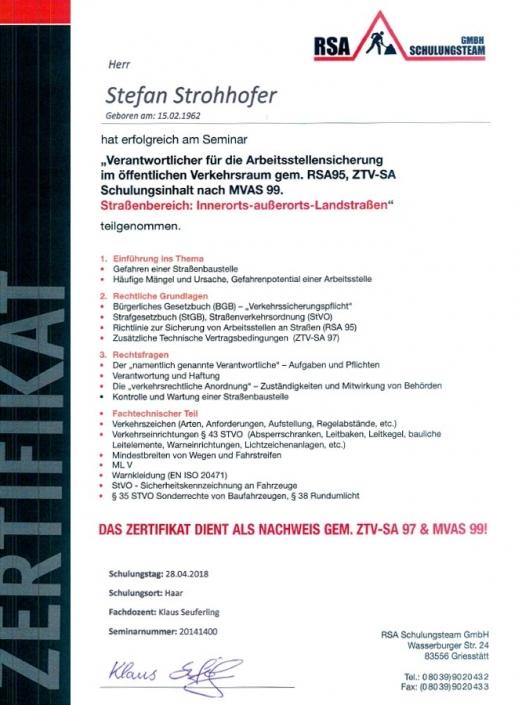 Zertifikat RSA Stefan Strohhofer