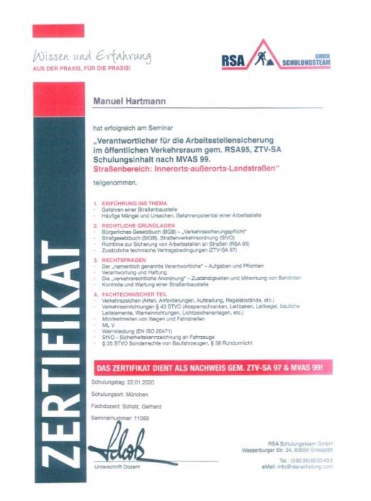 RSA Zertifikat Manuel Hartmann